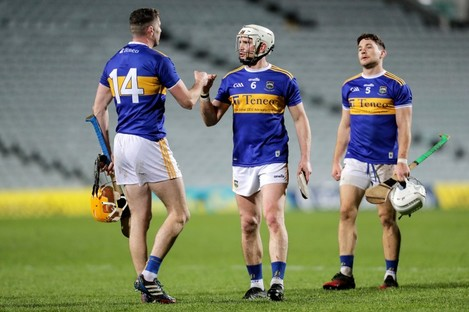 Seamus Callanan and Brendan Maher celebrate after the game.