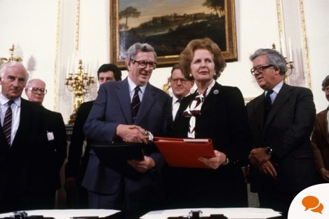 Margaret Thatcher and Garret FitzGerald sign the Anglo Irish Agreement in November, 1985.