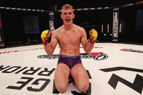 Ian Garry celebrates after his Cage Warriors 115 win against George McManus in September.