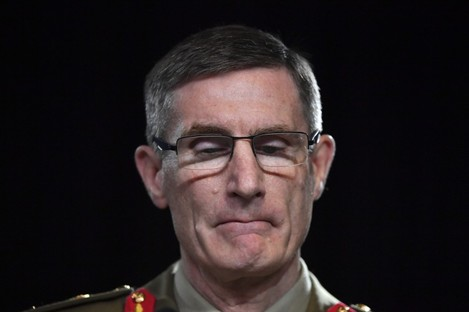 Chief of the Australian Defence Force Angus Campbell delivering the findings from the Inspector-General of the Australian Defence Force Afghanistan Inquiry, in Canberra, Thursday.