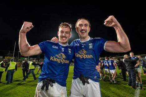 Cavan's Padraig Faulkner and Killian Clarke celebrate their monumental upset of Donegal in the Ulster final.