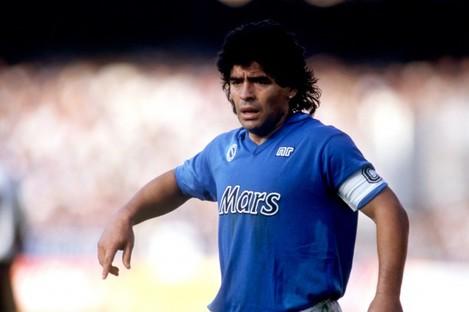 Diego Maradona in action for Napoli.
