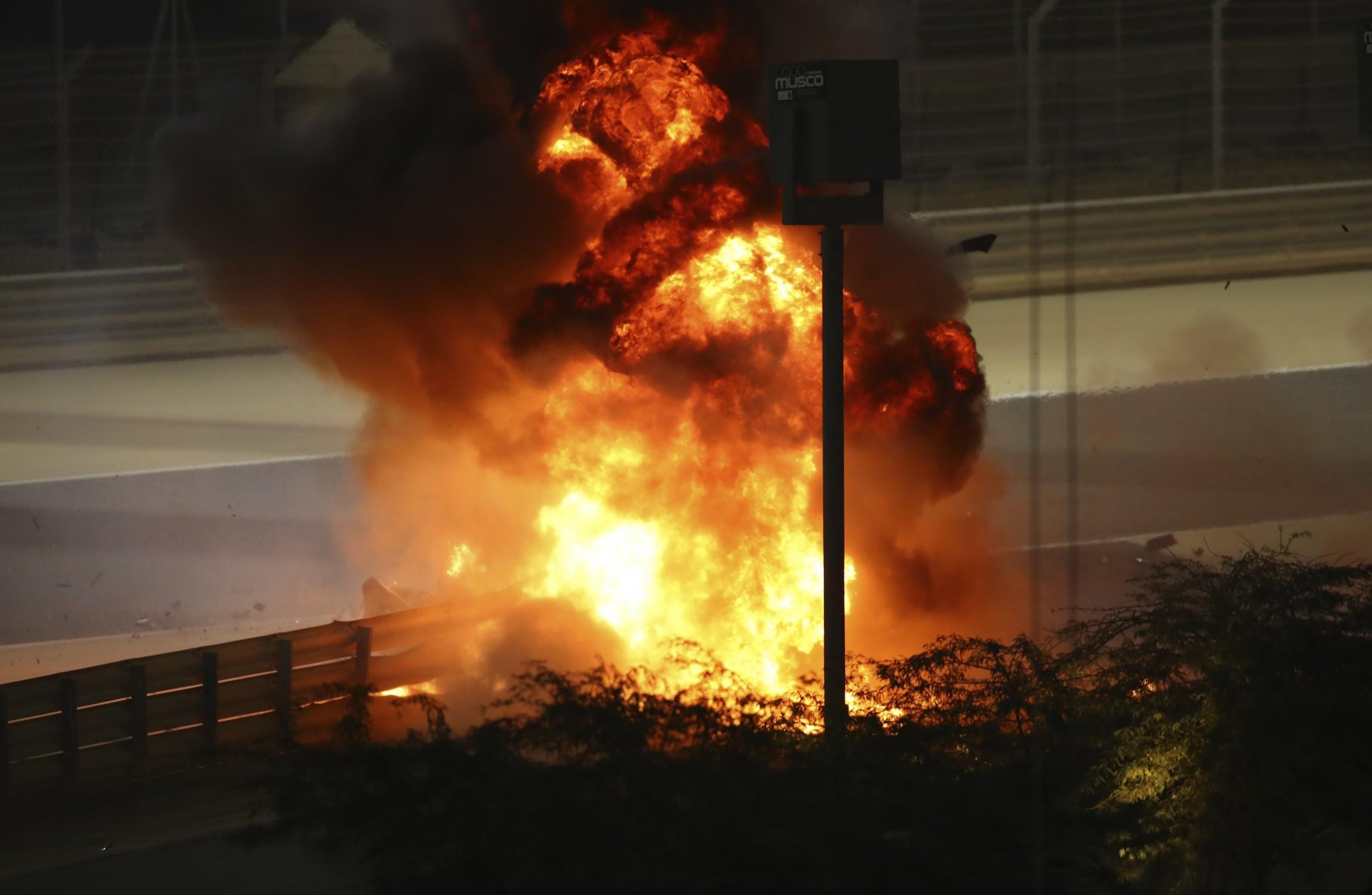 Haas driver Romain Grosjean escapes after horror crash at Bahrain Grand Prix