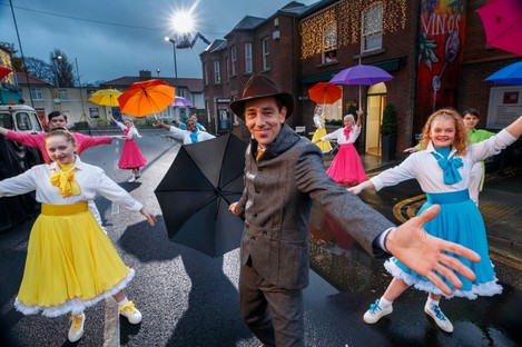 Ryan Tubridy performs Singin' in the Rain as part of The Late Late Toy Show 2020 with Children from Spotlight Stage School and the Miss Ali Stage School.