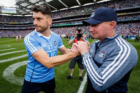Dublin manager Jim Gavin celebrates with Bernard Brogan after last year's All-Ireland final.