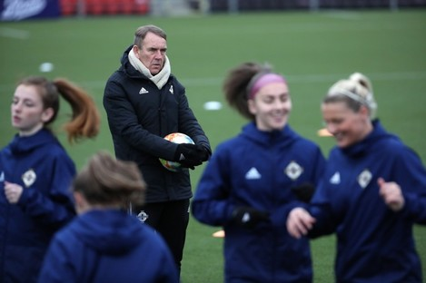 Kenny Shiels and his Northern Ireland side in training.