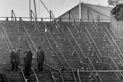 The crushed barriers at Ibrox Stadium in Glasgow, where 66 people died after the crowd disaster in 1971.