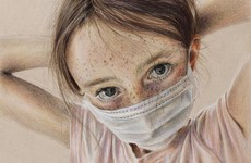 14-year-old wins art prize for masked portrait of her sister