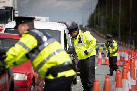File photo. Garda checkpoint in Dublin last April.