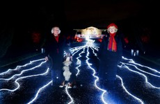 President Higgins unveils river of light at the Áras for those who cannot join family this Christmas
