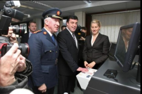 One of the new fingerprint scan machines being shown to media at Garda HQ in the Phoenix Park in 2007
