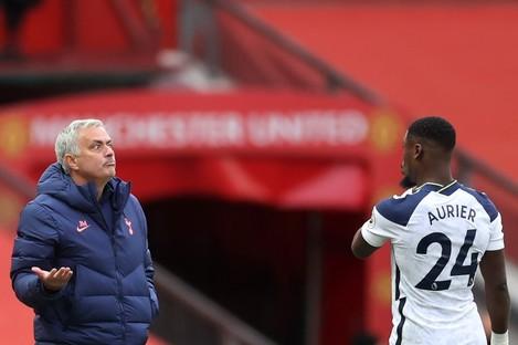 Jose Mourinho and Serge Aurier (file pic).