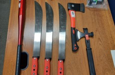 Two men to appear in court after machetes, axes and baseball bat seized in Cork