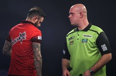 Michael Van Gerwen survives two match darts against Joe Cullen to reach last 16