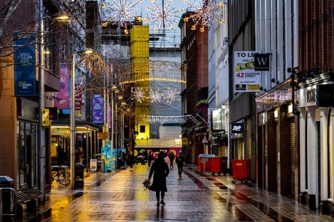 Fountain Street in Belfast on the third day of lockdown.