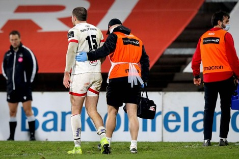 Jacob Stockdale leaves the field of play during Ulster's Guinness Pro14 win against Munster.
