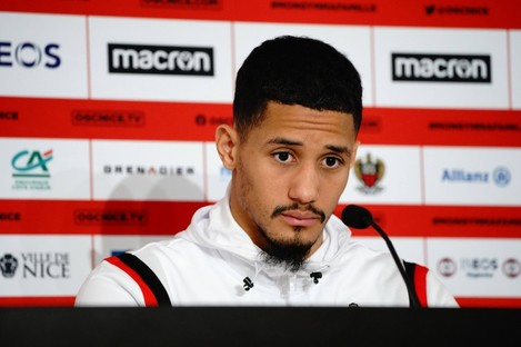 William Saliba pictured at a press conference earlier this week.