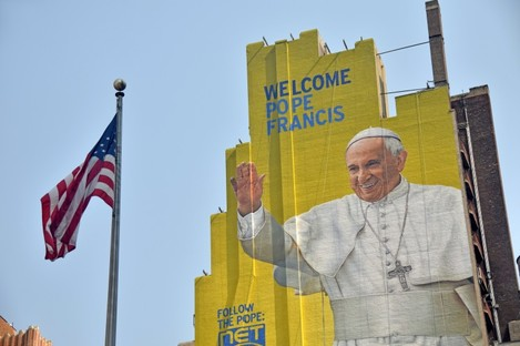 An outdoor mural in New York City dedicated to the Pope's visit in 2015