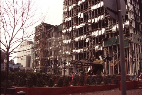File image of office buildings in London's Docklands which were bombed in 1996.