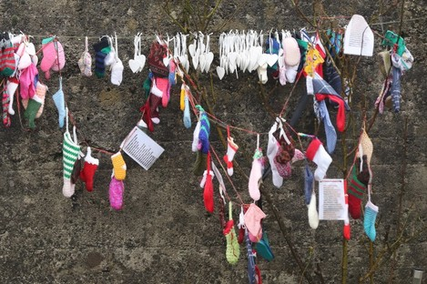 Children's socks at the grotto on an unmarked mass grave at the site of the Tuam Mother and Baby Home.
