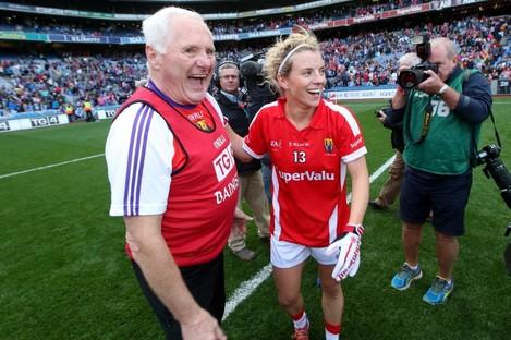 Éamonn Ryan and Valerie Mulcahy celebrating Cork's All-Ireland success in 2014.