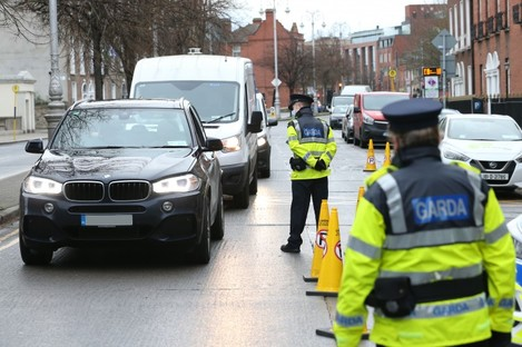 A Garda checkpoint on Baggot Street