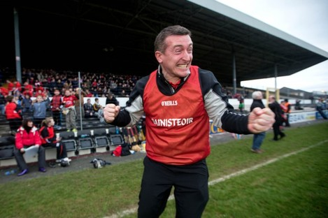 Tom Mullally celebrates at the final whistle of the 2013 Leinster senior club final. after steering Mount Leinster Rangers to victory over Oulart-The Ballagh.