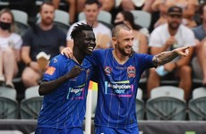 Irish striker's 50th A-League goal seals Newcastle Jets' first win of the season