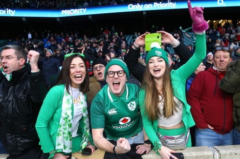 Ireland supporters on a famous day at Twickenham in 2018.