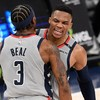 Bradley Beal and Russell Westbrook strike late as Wizards stun Nets