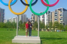 Here's Caroline Wozniacki and Rory McIlroy looking awkward in the Olympic Village