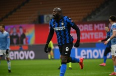 Lukaku brace sends Inter top of Serie A with win over Lazio