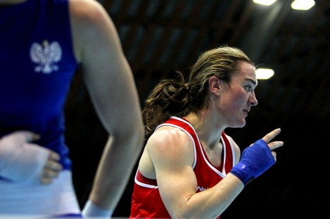Kellie Harrington celebrates winning on her return to competitive action in Bulgaria.
