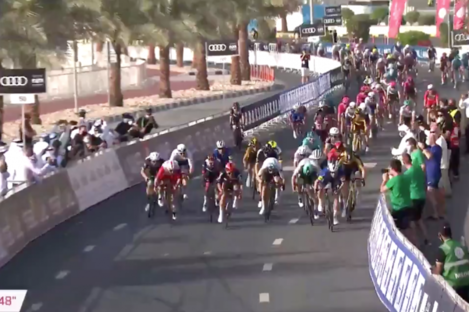 Bennett, right in blue, was first to the line.