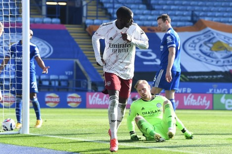 Nicolas Pepe after scoring for Arsenal against Leicester City