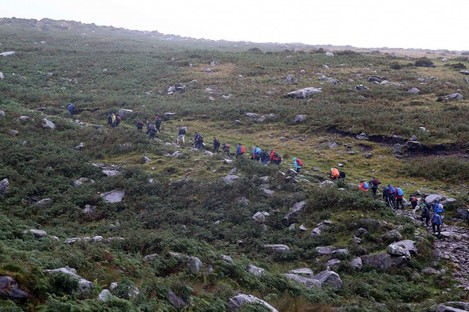 File photo: A group climbing Carantouhill for charity in 2015.