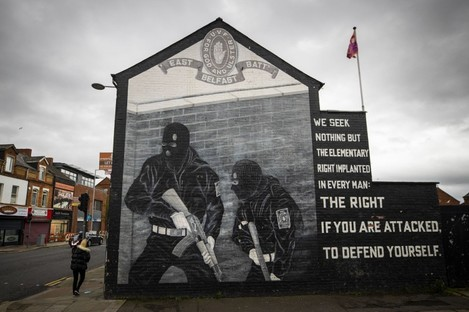UVF mural in support the of Ulster loyalist paramilitary group, on the wall of a property on the Lower Newtownards Road in east Belfast