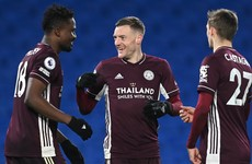 Leicester jump to second after coming from behind to win at Brighton