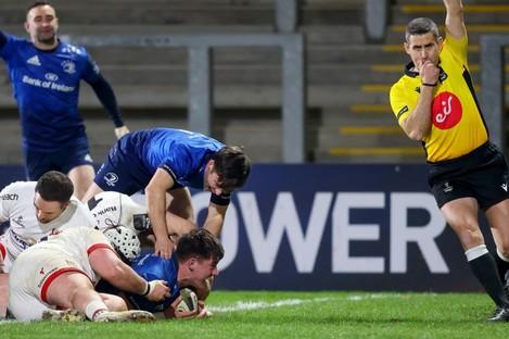 Dan Sheehan gets Leinster's fifth try.