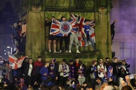 Rangers fans celebrate in George Square.