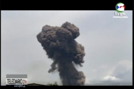 Video shows smoke rising over the blast site at a military barracks in Bata, Equatorial Guinea.