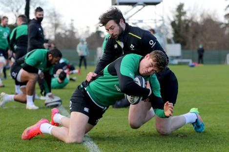 Garry Ringrose and Robbie Henshaw at Ireland training today.