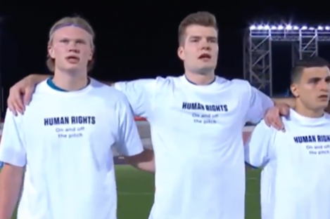 Erling Haaland, Alexander Sorloth and Mohamed Elyounoussi in the t-shirts last night.