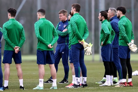 Stephen Kenny and his squad in training at the Debrecen Football Academy yesterday.