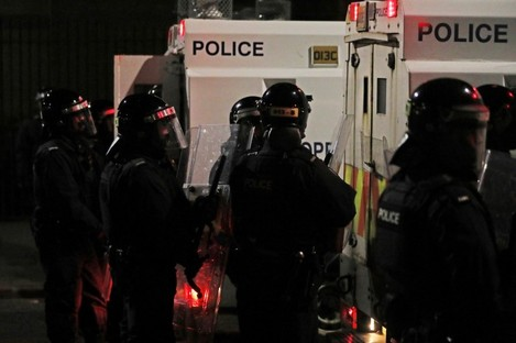 PSNI officers on North Queen Street in Belfast this evening.