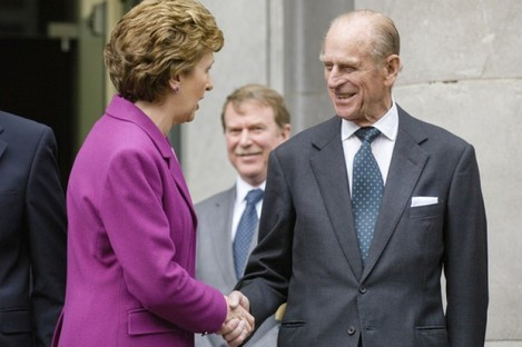 Prince Philip with former President of Ireland Mary McAleese at Dublin's National Concert Hall in 2006.