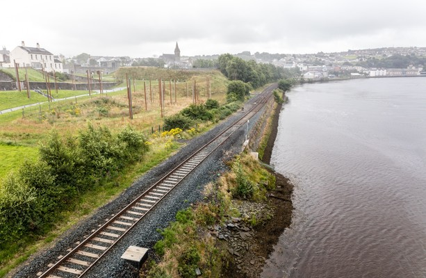 Burning car left on train track between Belfast and Derry