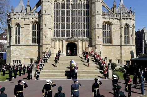 Prince Philip's coffin is carried into St George's Chapel