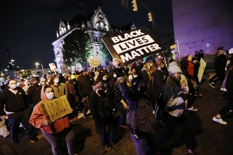 Protestors march in downtown Columbus