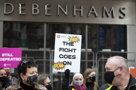 Protesters demonstrate outside a Debenhams store in Dublin (File photo)